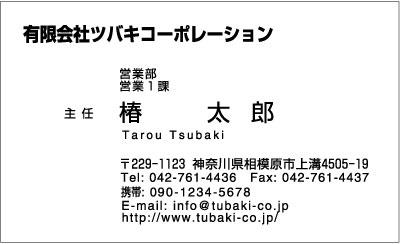 名刺サンプル・モノクロ横型、文字・角ゴシック体